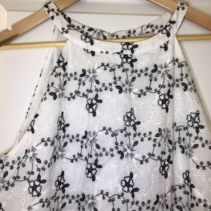 NWT LOFT Embroidered Halter Flare Dress